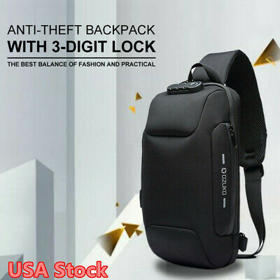 ozuko Men Shoulder Bag W/3-Digit Anti-theft Lock USB Waterproof Travel Backpack