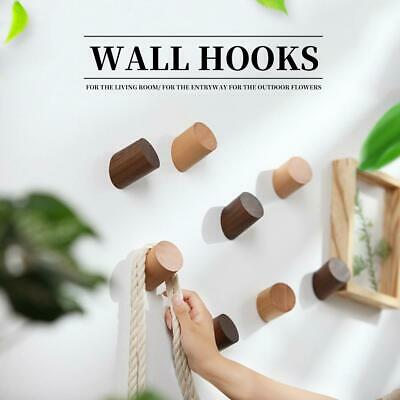 4PCS Solid Oak Wooden Wall Hook Door Bathroom Peg Hallway Coat Hanger Round