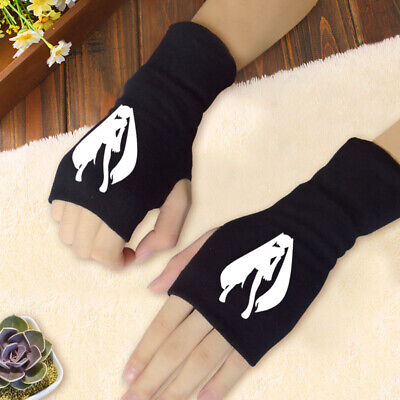 Anime Hatsune Miku Cosplay Cotton Knitted Gloves Fingerless Mitten