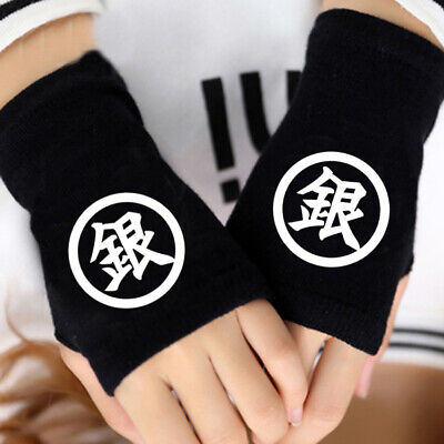 Anime GINTAMA Cosplay Cotton Knitted Gloves Fingerless Mitten