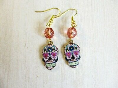 Halloween / Day of the Dead Sugar Skull Charm & Pink Glass Gold Tone Earrings