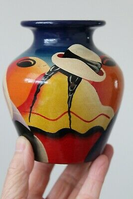 Mexican Hand Painted Folk Art Vase By Pancho - Signed. Indigenous Art Vase
