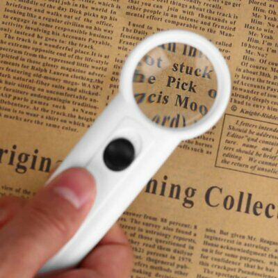 2 LED Light 15X Handheld Magnifier Reading Magnifying Glass Jewelry Loupe LY