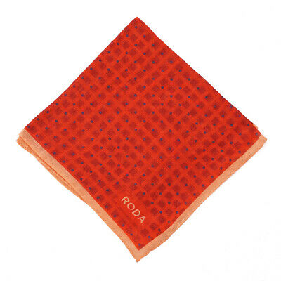 NWT RODA Tomato Red with Navy Blue Dot Print Linen Pocket Square