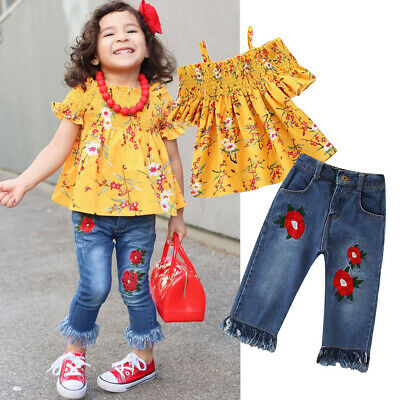 Toddler Kids Baby Girls Outfits Clothes Print T-shirt Tops+Embroidery Jeans Set