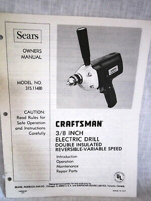 SEARS CRAFTSMAN 3/8 Inch Electric Drill Operation, Maint  & Repair Parts  Manaul