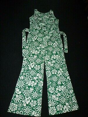 Vtg 60s 70s Groovy Green White Flower Power Cotton Jumpsuit Size L No Tag
