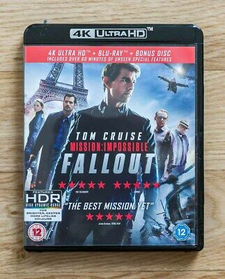 Blu ray 4K Ultra HD MISSION IMPOSSIBLE FALLOUT + blu ray des bonus comme neuf