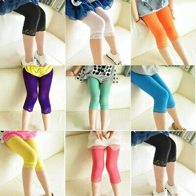 Kids Girl leggings Summer stretch Lace Leggings skinny capris Pants Candy color