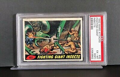 1962 Mars Attacks #45 - FIGHTING GIANT INSECTS - PSA 6(ST) EX-MT