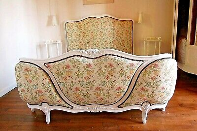 Stunning French Demi Corbeille DOUBLE BED White Frame Professionally Upholstered