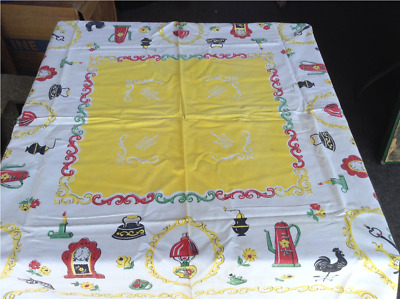 Vintage Tablecloth Retro Yellow and White with Antique Ornaments - 48x46 Inches
