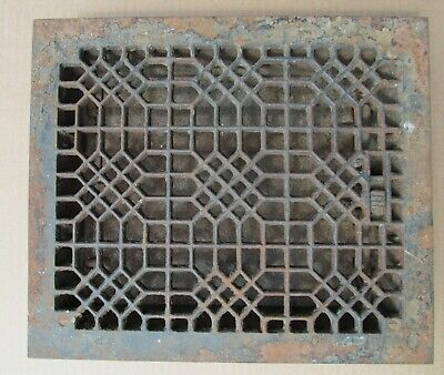Ornate Vintage Cast Iron Floor Heat Grate With Louvers Tuttle and Bailey NY