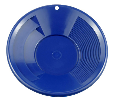 """NEW 8"""" BLUE Plastic Gold Pan w/ Shallow & Deep Riffles for Gold Grospecting WOW"""