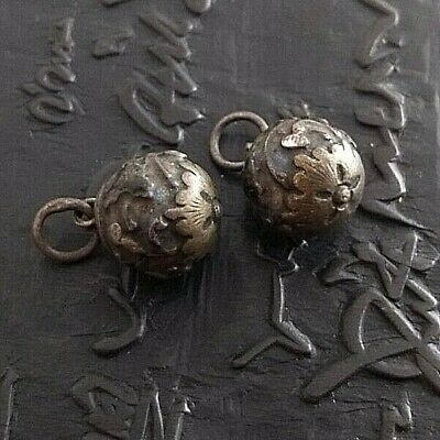 Antique or vintage Chinese brass court robe buttons, large, lot of 2 ENAMELED