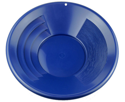 """14"""" BLUE Plastic Gold Pan w/ Shallow Deep Riffles for Gold Grospecting Panning"""