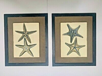 "18"" x 15"" Pair of Antique Style Hand Painted Starfish Over Burlap Wall Paintings"