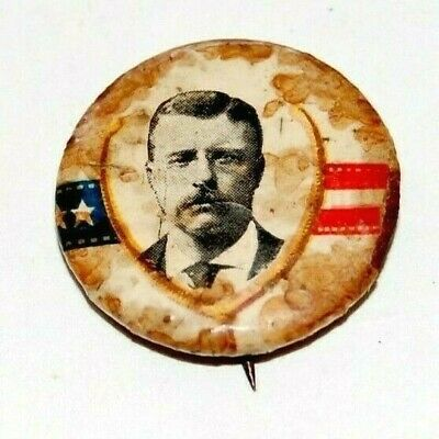 1904 TEDDY ROOSEVELT WISHBONE theodore campaign pin pinback button presidential