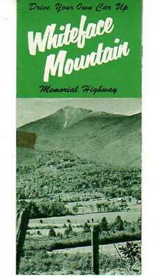 VINTAGE TRAVEL BROCHURE & MAP WHITEFACE MOUNTAIN MEMORIAL HIGHWAY NEW YORK 1950s