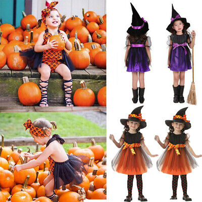 Toddler Kids Baby Girls Halloween Clothes Costume Dress Party Dresses+Hat Outfit