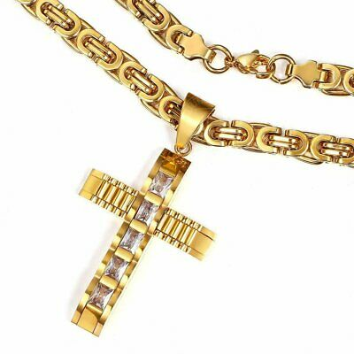 Clear CZ Cross Necklace Pendant Gold Stainless Steel Byzantine Chain For Men