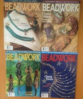 4 Issues of Beadwork Magazine  from 2000 and 2001 New Condition