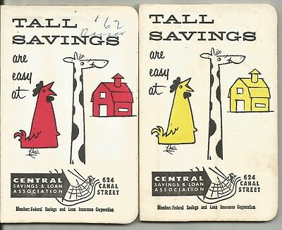"""2 - 1960's Central S&L New Orleans Louisiana Dime & Quarter """"Tall"""" Still Banks"""