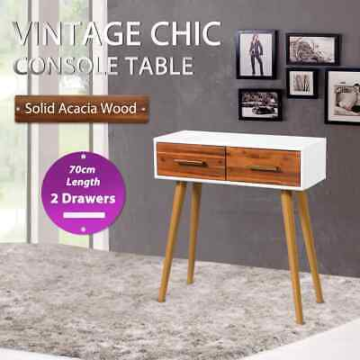 vidaXL Solid Acacia Wood Console Table with 2 Drawers Hallway Display Desk