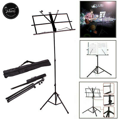 Glarry Adjustable Folding Music Stand Metal w/Nylon Oxford Fabric Bag