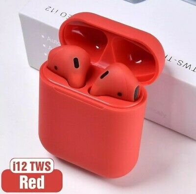 NEW2019 Airpods i12 TWS Bluetooth 5 Wireless earphones,Touch control Red