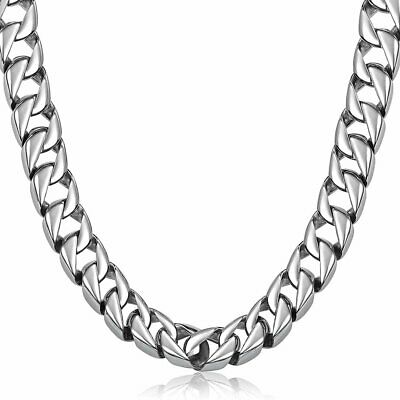 15mm Mens Smooth Curb Cuban Link Necklace 316L Stainless Steel Heavy Punk Chain