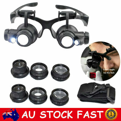 8 Lens Magnifier Eye Glass Magnifying LED Light Loupe for Jeweler Watch Repair