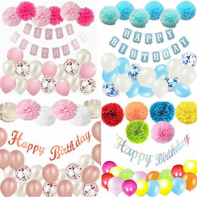 Happy Birthday Balloons Bunting Banner Pompoms Set Party Boy Girl Rose Gold