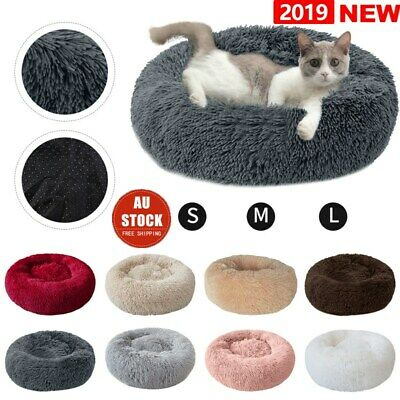 Pet Calming Bed Round Nest Faux Fur Donut Cat Dog Beds Self Warming AU STOCK