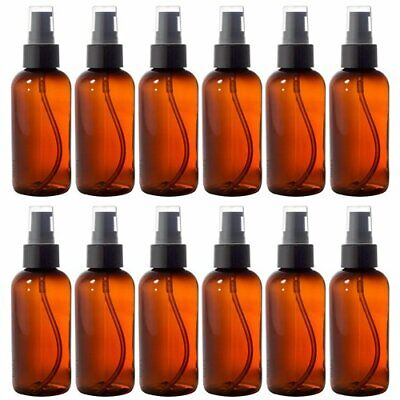 Amber 4 oz Boston Round PET Bottles (BPA Free) with Treatment Pump (12 Pack) +