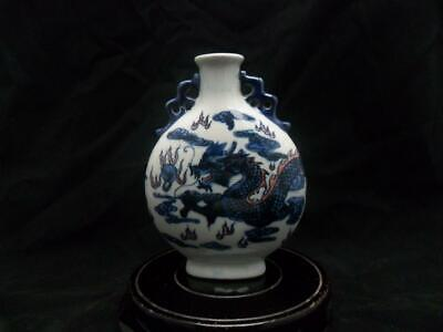 Chinese ancient antique hand make Blue and white Dragon pattern vase a43