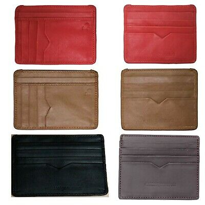Real Leather Slim Mini ID Credit Travel Card Money Holder Men Women Wallet Pouch