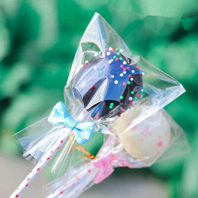 100pcs Small Clear Cellophane Bags Cello Sweets Cookies Lollipops Cake SU