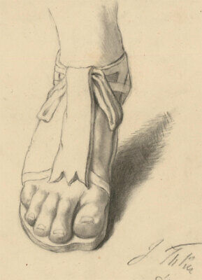 Early 20th Century Charcoal Drawing - Classical Foot Study