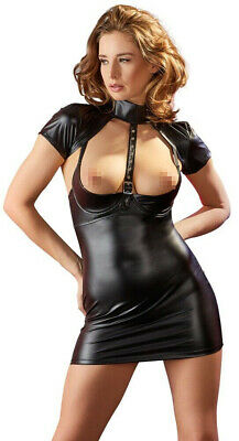 Sexy Wetlook Kleid Schwarz Busenfreies Hebekleid Minikleid Gogo Club  S M L XL