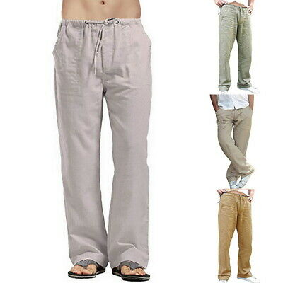 Mens Summer Pant Cotton Linen Loose Trouser Elastic Waist Straighted Pant