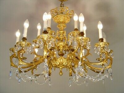 Large 18 Light Brass Crystal Chandelier Glass Chains Old Lamp Antique Fixtures