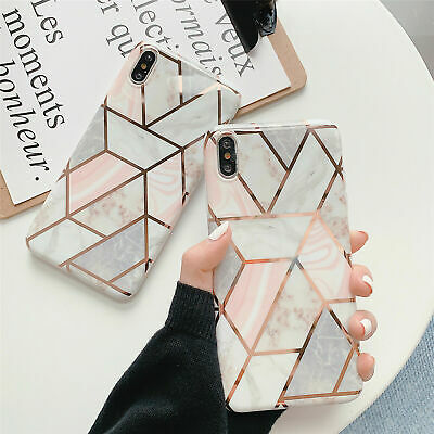 Geometric Marble Case for iPhone XS MAX X 10 XR 6s 6 8 7 Plus Soft Pastel Cover