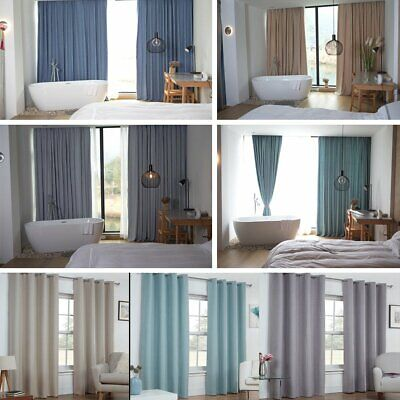 Thermal Blackout Darkness Curtains Ready Made Fully Line Eyelet Ring Top Bedroom
