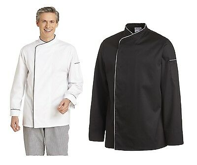 Leiber 12/2598 Men's Chef Jacket Bakers Long Sleeve Black White