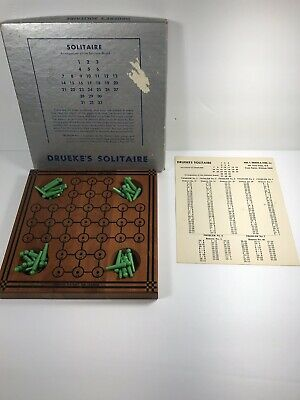 Vintage Wood DRUEKE'S SOLITAIRE GAME #544 Puzzle Board, Pegs And Solution Sheet