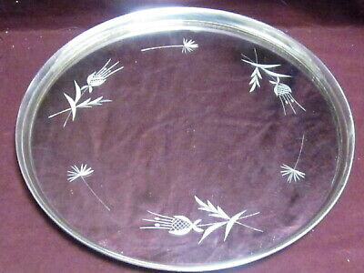 "NEWPORT Sterling RIM TRAY OR PLATTER MIRROR FLORAL  11"" no mono  #1630"