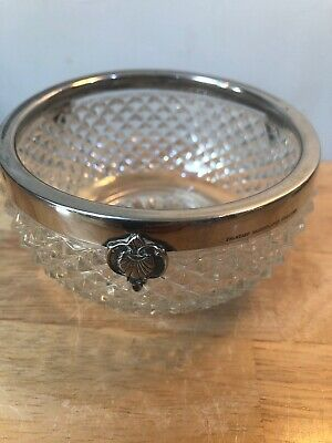 Vintage Bowl Dish Pressed Glass Bowl FALSTAFF SILVERPLATE Shell Decoration