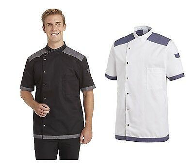Leiber 12/2561 Men's Chef Jacket Bakers short Sleeve White Black 60°