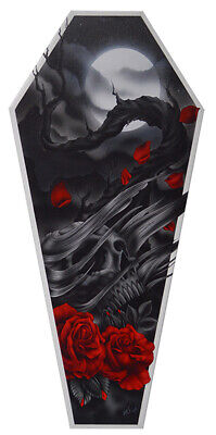 Sad Truth by Aaron Cox Skull Roses Moon Gothic Halloween Coffin Canvas Art Print